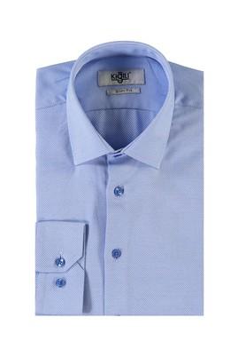 Erkek Giyim - KOYU MAVİ XS Beden Uzun Kol Desenli Slim Fit Gömlek