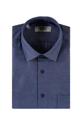 Erkek Giyim - KOYU MAVİ L Beden Kısa Kol Desenli Klasik Gömlek