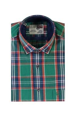 Erkek Giyim - KOYU YESİL L Beden Kısa Kol Ekose Spor Gömlek