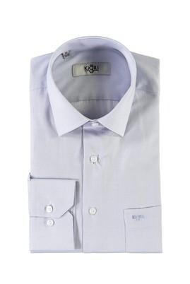 Erkek Giyim - KOYU MAVİ XL Beden Uzun Kol Desenli Klasik Gömlek