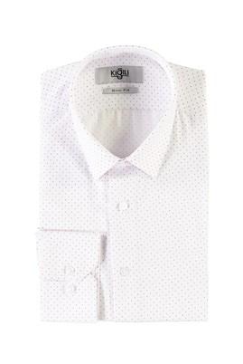 Erkek Giyim - KOYU KIRMIZI L Beden Uzun Kol Baskılı Slim Fit Gömlek