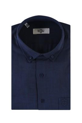 Erkek Giyim - LACİVERT M Beden Kısa Kol Desenli Spor Gömlek