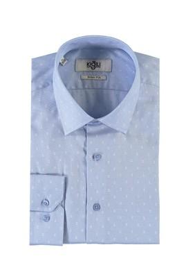 Erkek Giyim - MAVİ M Beden Uzun Kol Desenli Slim Fit Gömlek