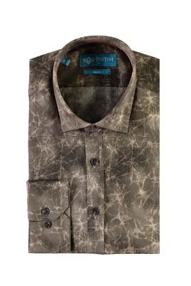 Erkek Giyim - HAKİ L Beden Uzun Kol Baskılı Slim Fit Gömlek