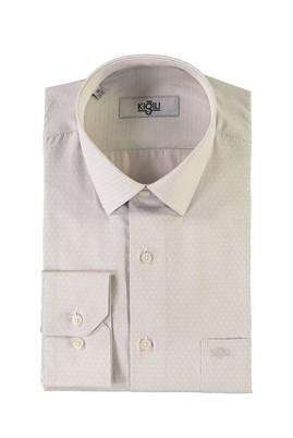 Erkek Giyim - BEJ 4X Beden Uzun Kol Desenli Klasik Gömlek