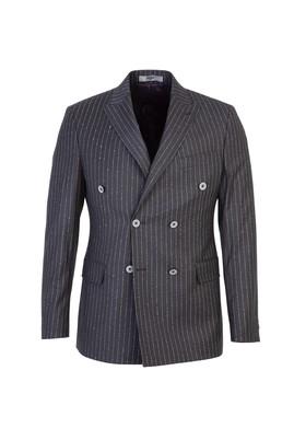 Erkek Giyim - AÇIK ANTRASİT 52 Beden Kruvaze Slim Fit Çizgili Ceket