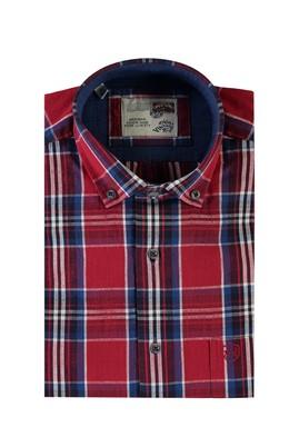 Erkek Giyim - BORDO 3X Beden Kısa Kol Ekose Spor Gömlek