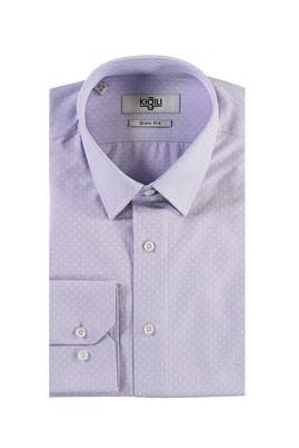 Erkek Giyim - LİLA XS Beden Uzun Kol Desenli Slim Fit Gömlek