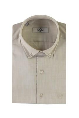 Erkek Giyim - BEJ L Beden Kısa Kol Desenli Spor Gömlek