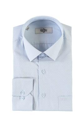 Erkek Giyim - AÇIK MAVİ XXL Beden Uzun Kol Regular Fit Desenli Gömlek
