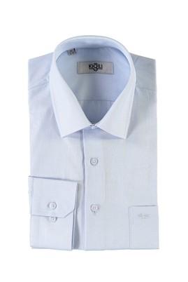Erkek Giyim - AÇIK MAVİ 3X Beden Uzun Kol Desenli Klasik Gömlek