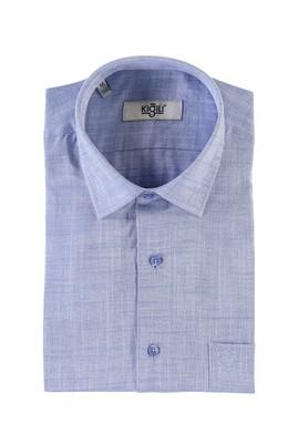 Erkek Giyim - KOYU MAVİ M Beden Kısa Kol Regular Fit Desenli Gömlek