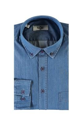 Erkek Giyim - MAVİ L Beden Uzun Kol Denim Gömlek