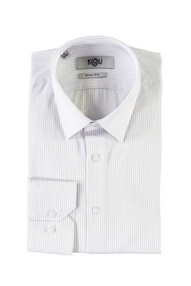 Erkek Giyim - KOYU MAVİ M Beden Uzun Kol Desenli Slim Fit Gömlek