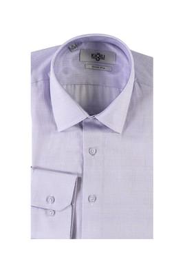 Erkek Giyim - LİLA XL Beden Uzun Kol Desenli Slim Fit Gömlek