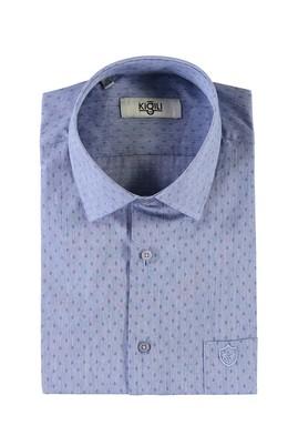 Erkek Giyim - MAVİ L Beden Kısa Kol Desenli Klasik Gömlek