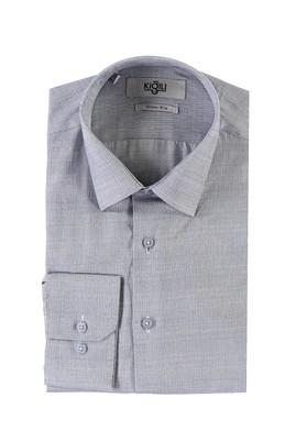 Erkek Giyim - LACİVERT S Beden Uzun Kol Desenli Slim Fit Gömlek
