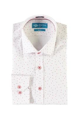 Erkek Giyim - BEYAZ L Beden Uzun Kol Baskılı Slim Fit Gömlek
