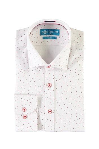 Erkek Giyim - Uzun Kol Baskılı Slim Fit Gömlek