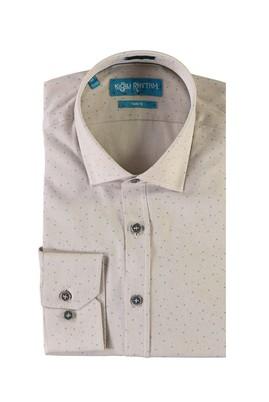 Erkek Giyim - AÇIK KAHVE - CAMEL L Beden Uzun Kol Baskılı Slim Fit Gömlek