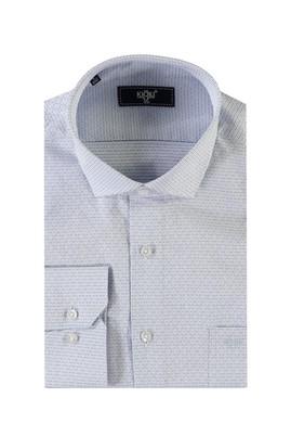 Erkek Giyim - MAVİ 4X Beden Uzun Kol Çizgili Spor Gömlek