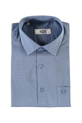 Erkek Giyim - PETROL XL Beden Kısa Kol Desenli Klasik Gömlek