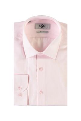 Erkek Giyim - PEMBE XS Beden Uzun Kol Desenli Slim Fit Gömlek