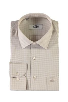 Erkek Giyim - BEJ XXL Beden Uzun Kol Desenli Klasik Gömlek
