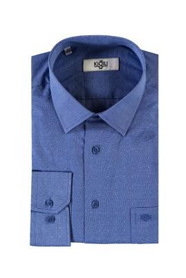 Erkek Giyim - LACİVERT XXL Beden Uzun Kol Desenli Klasik Gömlek