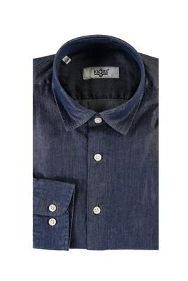 Erkek Giyim - KOYU MAVİ XL Beden Uzun Kol Denim Gömlek