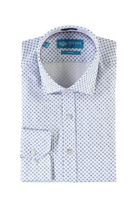 Erkek Giyim - BEYAZ M Beden Uzun Kol Baskılı Slim Fit Gömlek