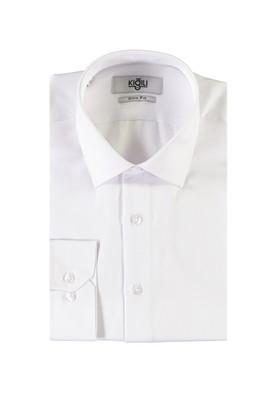 Erkek Giyim - BEYAZ M Beden Uzun Kol Desenli Slim Fit Gömlek