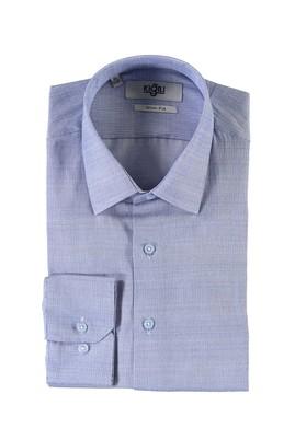 Erkek Giyim - MAVİ XL Beden Uzun Kol Desenli Slim Fit Gömlek