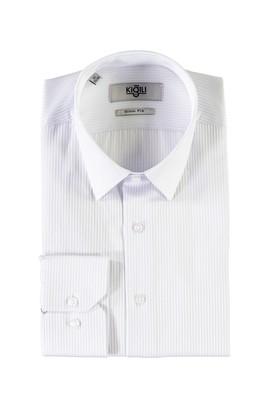 Erkek Giyim - UÇUK MAVİ S Beden Uzun Kol Desenli Slim Fit Gömlek