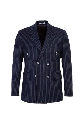 Erkek Giyim - KOYU LACİVERT 52 Beden Slim Fit Çizgili Kruvaze Ceket
