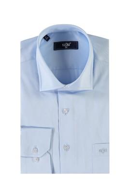 Erkek Giyim - Açık Mavi XL Beden Uzun Kol Saten Klasik Gömlek