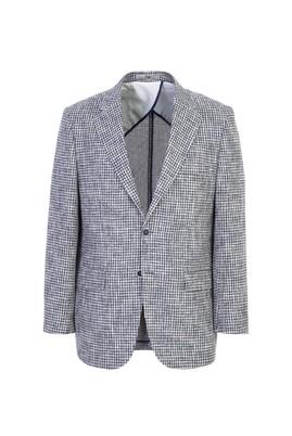 Erkek Giyim - AÇIK LACİVERT 54 Beden Klasik Ekose Ceket