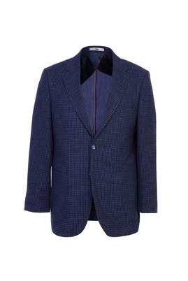 Erkek Giyim - SİYAH LACİVERT 54 Beden Spor Ekose Ceket