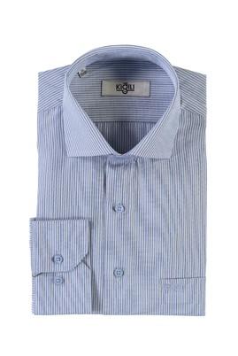 Erkek Giyim - AÇIK MAVİ M Beden Uzun Kol Çizgili Klasik Gömlek