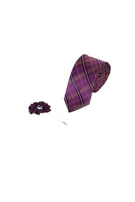 Erkek Giyim - BORDO 165 Beden 2'li Kravat Yaka İğnesi Set