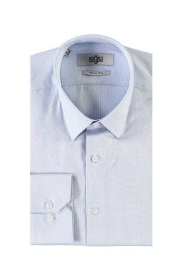 Erkek Giyim - UÇUK MAVİ XL Beden Uzun Kol Desenli Slim Fit Gömlek