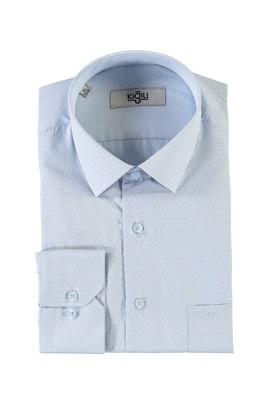 Erkek Giyim - AÇIK MAVİ L Beden Uzun Kol Desenli Klasik Gömlek