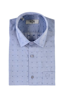 Erkek Giyim - MAVİ M Beden Kısa Kol Desenli Klasik Gömlek
