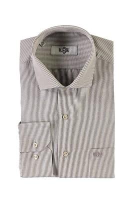 Erkek Giyim - KAHVE L Beden Uzun Kol Çizgili Klasik Gömlek