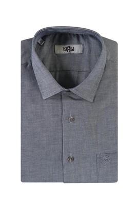Erkek Giyim - LACİVERT L Beden Kısa Kol Desenli Klasik Gömlek