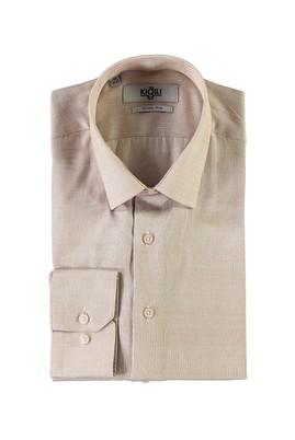 Erkek Giyim - BEJ XS Beden Uzun Kol Desenli Slim Fit Gömlek