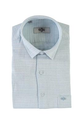 Erkek Giyim - AÇIK MAVİ L Beden Kısa Kol Desenli Klasik Gömlek