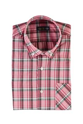Erkek Giyim - KIRMIZI 4X Beden Kısa Kol Ekose Spor Gömlek