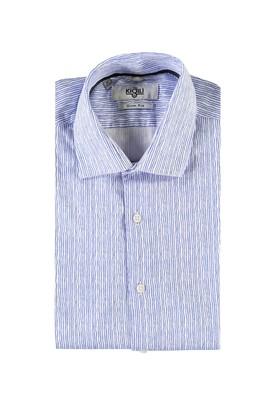 Erkek Giyim - AÇIK MAVİ XL Beden Uzun Kol Çizgili Slim Fit Gömlek