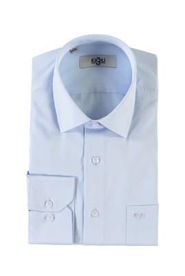 Erkek Giyim - UÇUK MAVİ 4X Beden Uzun Kol Desenli Klasik Gömlek